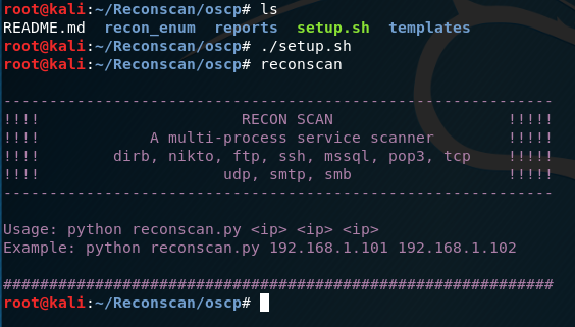 How to install and use the Reconscan python script in Kali – Pen Testing